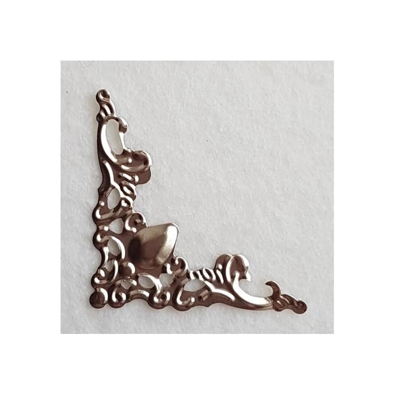 Metallnurk filigree hõbedane 4,2*3,5 cm
