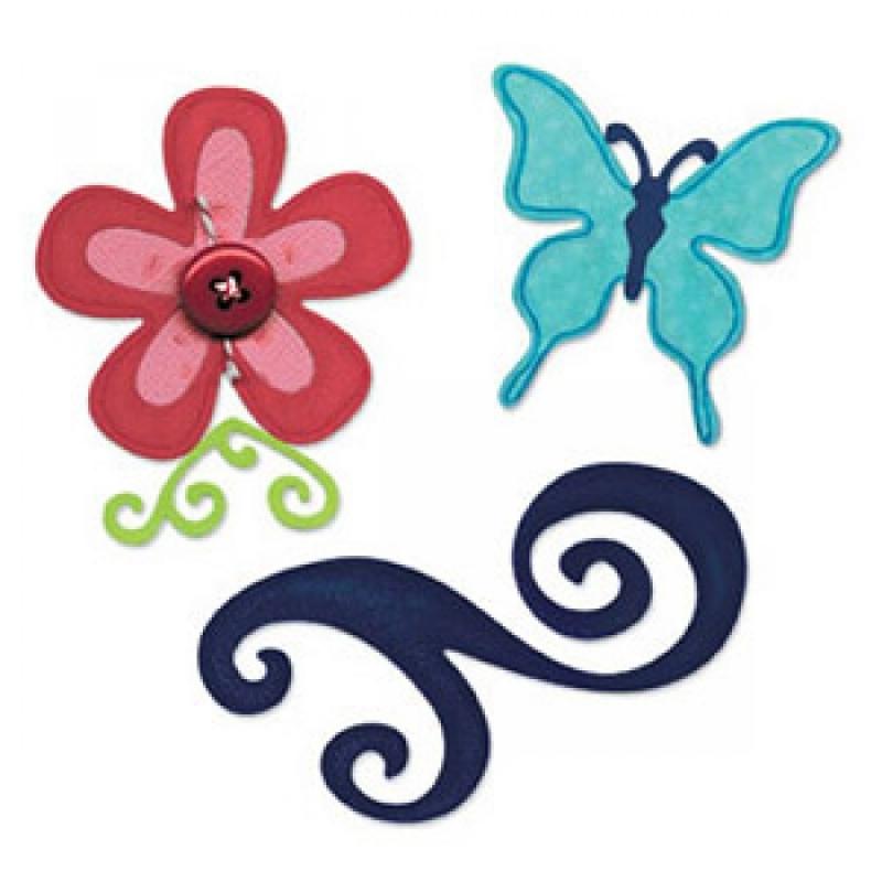 "Sizzix lõiketerad ""Liblikas, lill ja väät"" 657126"