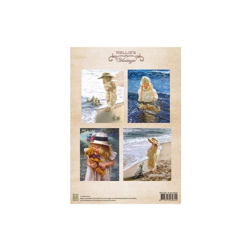 "A4 paber ""Vintage tüdruk rannas"" NEVI038"