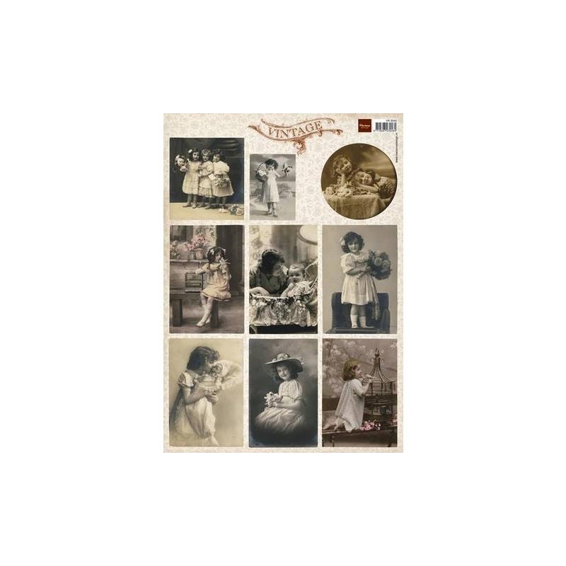 """A4 paber """"Vintage lilled ja lapsed"""" VK9540"""