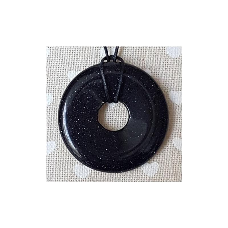 Sinine päikesekivi donut-ripats 40mm