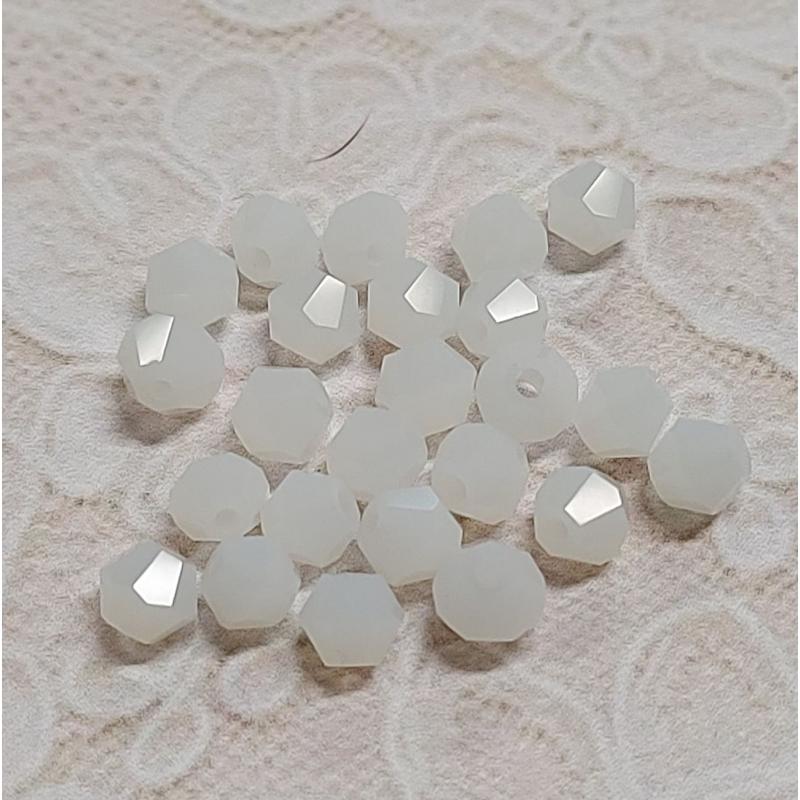 *Klaaskristall 4*3,5mm valge tahuline 25tk/pk