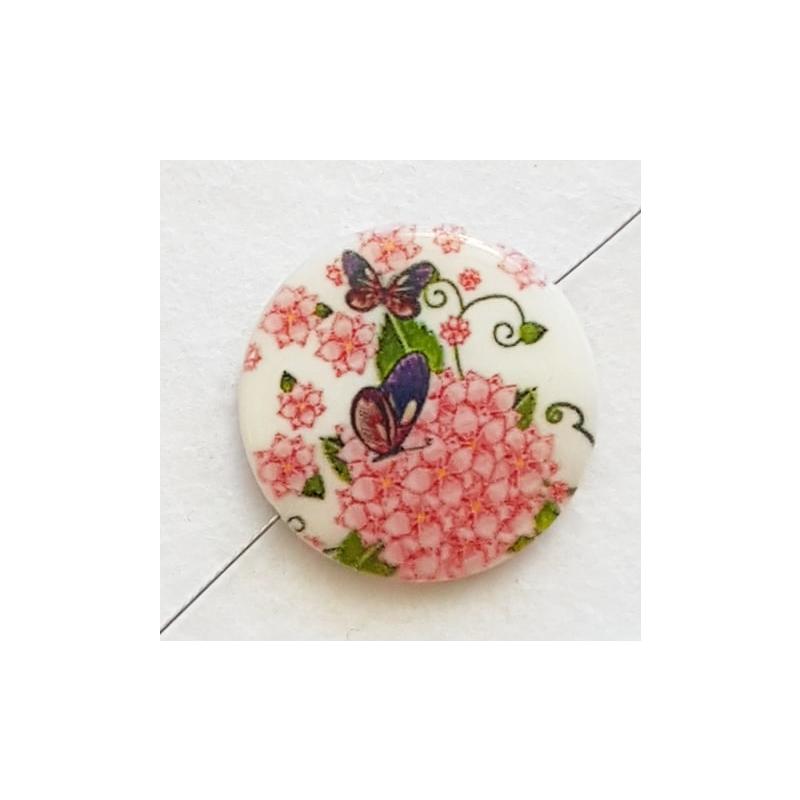 """Helmes pärlikoda 25mm """"Liblikas roosal lillel"""" 1tk"""