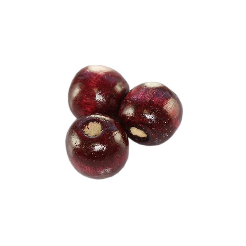 Puupärl ümar 15*16 mm burgundia punane 20 tk