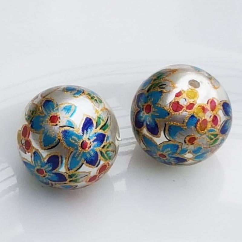Tensha 16mm pärlmutter helmes siniste lilledega