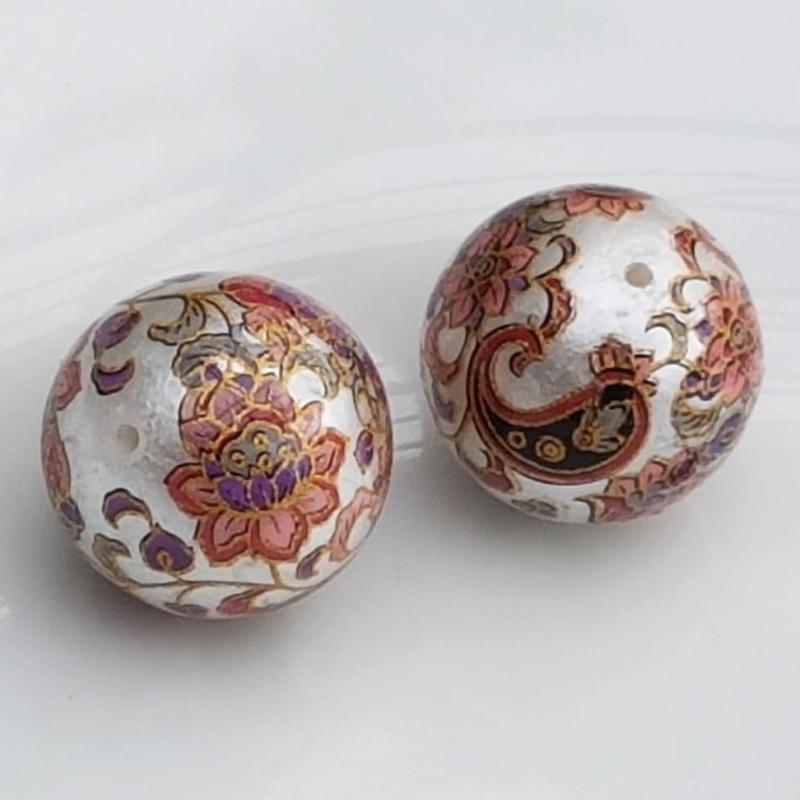 Tensha 16mm pärlmutter helmes liilia ja neerumustriga