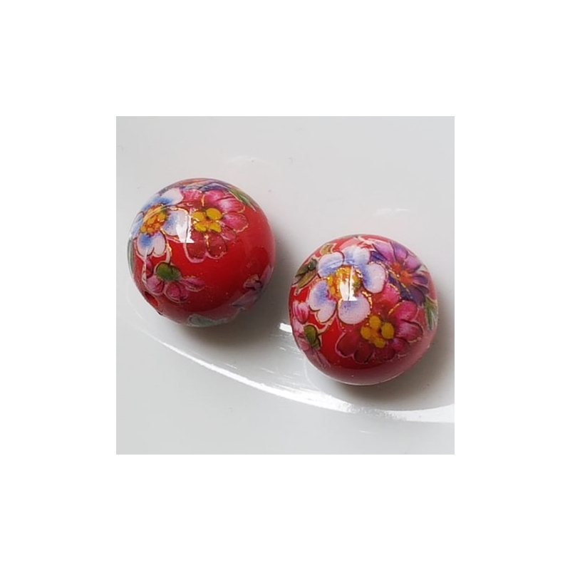 Tensha 16mm punane helmes lilledega