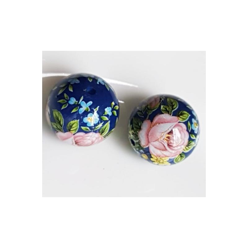 Tensha 16mm tumesinine helmes roosade roosidega