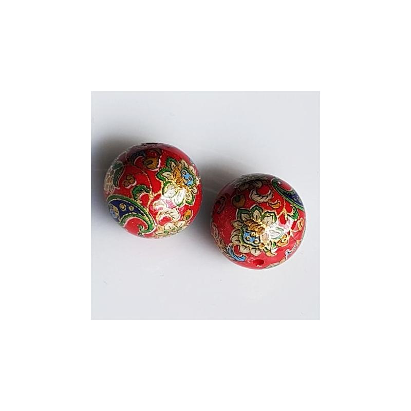 Tensha 16mm punane helmes liilia ja neerumustriga
