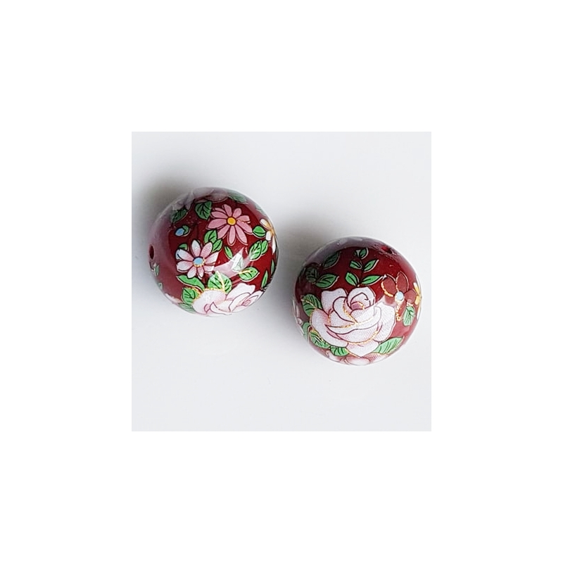 Tensha 16mm tumepunane helmes heleda roosiga