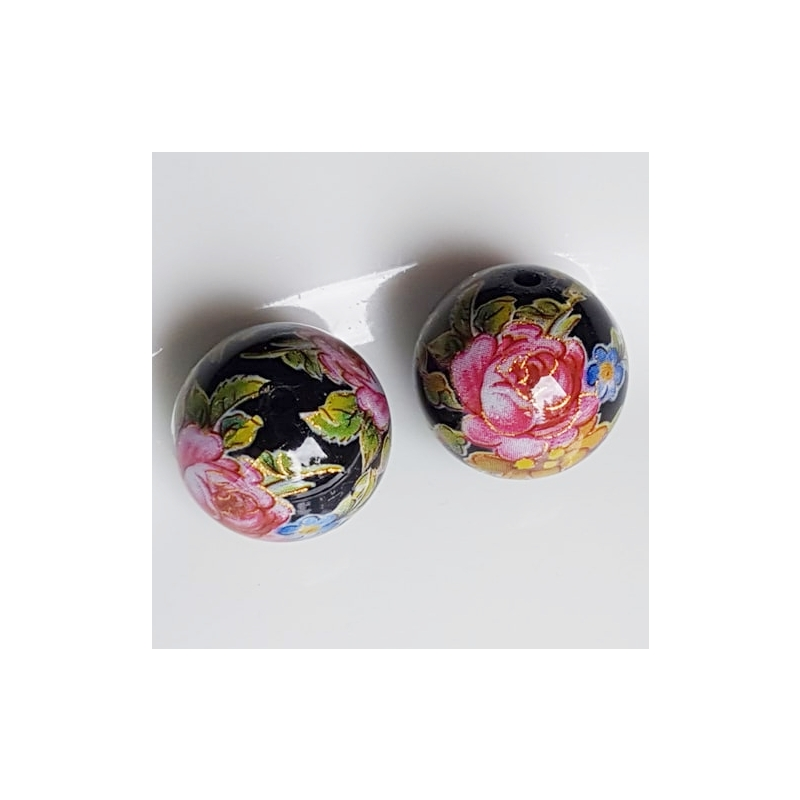 Tensha 16mm must helmes roosi ja lilledega