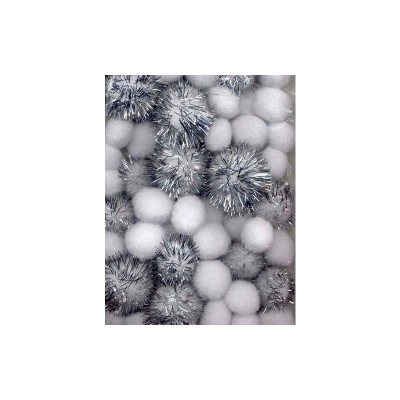 Pom-pom pallikesed valge/hõbe 50tk 1,0-2,5mm