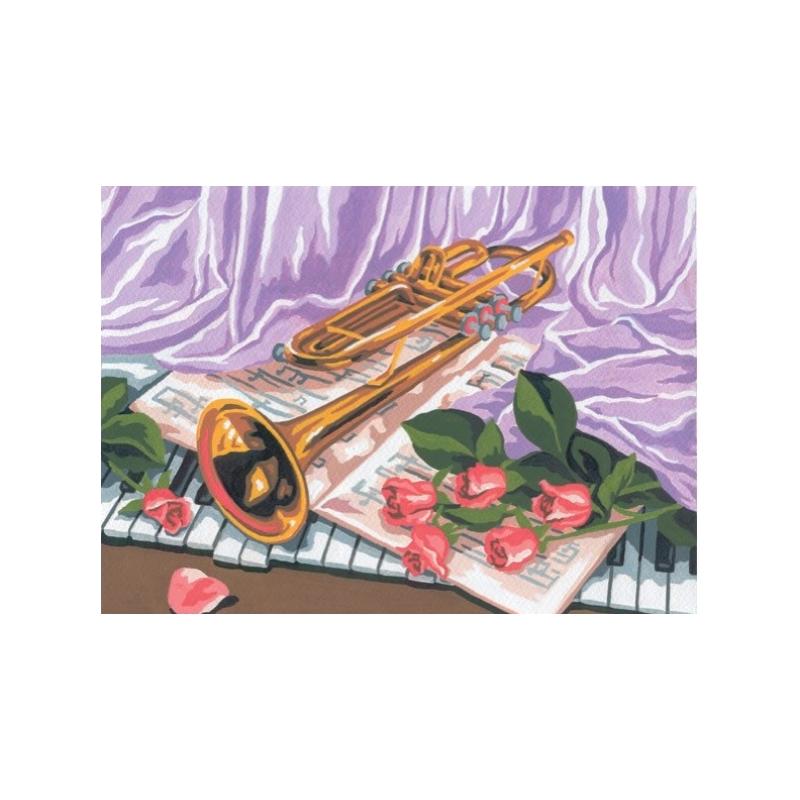 """Ristpistes tikkimispilt """"Trompet ja roosid""""30*40cm 6179"""