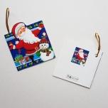 """Väike jõulukaart sädelusega """"Jõulumees ja lumememm"""""""