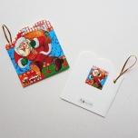 """Väike jõulukaart sädelusega """"Jõulumees kotiga teel"""""""