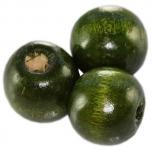 Puupärl ümar 13*14 mm tumeroheline 25 tk
