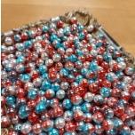 Sünteetiline helmes halo sini-punane 8mm 30tk