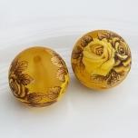 Tensha 16mm matt kollane helmes kollase roosiga