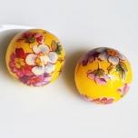 Tensha 16mm kollane helmes lilledega