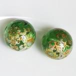 Tensha 16mm klaasjas roheline helmes lille ja neerumustriga