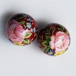 Tensha 16mm tumepunane helmes roosa roosi ja siniste lilledega