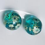 Tensha 16mm klaasjas sinine helmes lilledega