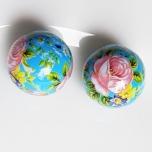 Tensha 16mm helesinine helmes roosa roosi ja lilledega