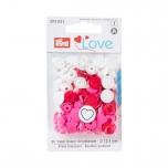 Plastmassist trukid Love südamega puna-roosa-valge 30tk