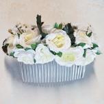 Juuksekamm valgete roosidega