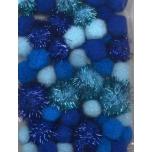 Pom-pom tutid sinine 50tk 1,0-2,5mm