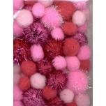 Pom-pom pallikesed roosa 50tk 1,0-2,5mm