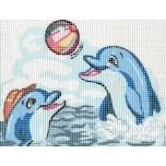 "Ristpistes tikkimispilt ""Kaks delfiini""  20*25cm 3226"